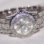 Ladies Womens Girls Rhinestone Bling Diamond Look Crystal Elegant Dressy Wrist Watch Band & Watch