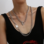 Ladies Womens Iron Metal 2 Layered Lock Thick Chain Necklace