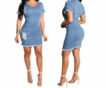 Womens Ladies Sexy Stretch Back Zippered Bodycon Casual Club Party Jeans Mini Dress