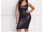 Ladies Womens Regular & PLUS SIZE Sexy Sleeveless Leather Look Shiny Bodycon Casual Evening Cocktail Mini Dress