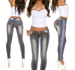 Ladies Womens Low Waist Hip Hugger Sexy Denim Black Jeans with Blue Denim Side Panels