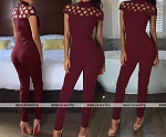 Ladies Womens Sexy Cut Out High Neck Design Clubwear Casual Evening Short Sleeve  Jumpsuit