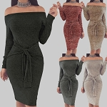 Ladies Womens Front Tie Belt Bodycon Knee Length Casual Cocktail Eveningwear Party Sexy Dress