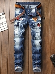 Mens Patch Contrast Color Ripped Straight Leg Jeans