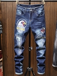 Mens Washed Embroidery Patch Straight Leg Jeans