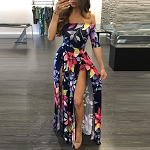 Ladies Womens Regular & PLUS SIZE Casual Evening Wear Short Sleeve Floral 3 Piece Look Top Mini Shorts Maxi Dress