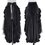 Ladies Womens Regular & PLUS SIZE Punk Rock Goth Rave Ruffled Long Casual Dressy Clubwear Eveningwear Wrap Around Front Open Maxi Skirt