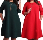 Ladies Womens Regular & PLUS SIZE 2 Pocket 3/4 Sleeve Loose Fitting Casual Evening Work Caftan Style Dress