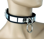 Men Lady Womens Mirror & Metal Ring Gothic Punk Bondage Choker Necklace