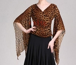 Ladies Womens Sexy Casual Dressy Scarf Look Flare Sleeve V-Neck Leopard Shirt Top