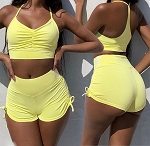 Ladies Sleeveless Midriff Top + Side Tie Shorts Set