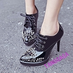 Ladies Womens Nun Style Gothic Punk Patent Leather Metal Stud Front Tie Casual Dress Work High Heel Shoes