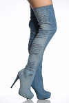 Ladies Womens Sexy Thigh High Platform Over The Knee High Heel Stiletto Denim Jean Boots