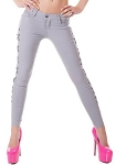 Ladies Womens Side Lace Up Denim Skinny Straight Leg Jeans