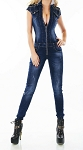 Ladies Womens Stretch Denim Front Zipper Shoulder Star Studs Jeans Jumpsuit