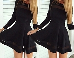 Ladies Womens Long Sleeve Sheer Top Cocktail Evening Special Occasion Knee Length Mini Dress