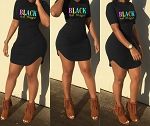 Ladies Womens Stylish Short Sleeve Black Girl Magic Letter Printed O Neck Party Summer Casual Short Mini Dress