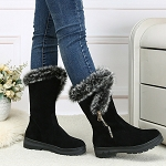 Ladies Womens Fur Lined Mid Calf High Heel Winter Boots