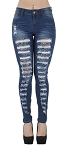 Lady PLUS SIZE Classic Entire Leg Front Hole Torn Ripped Fashion Destroyed Skinny Jeans