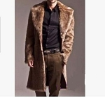 Mens Warm Long Faux Fur Trench Coat