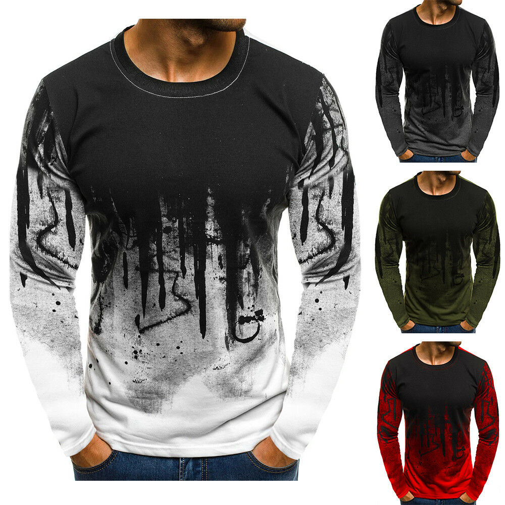 Mens Slim Fit Long Sleeve Muscle O Neck Casual T-Shirt TShirt