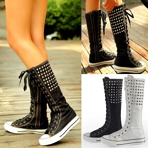 Ladies Womens Knee High Front Tie Up Front Lace Up Chuckie Style Sneakers Tennis Shoes with Metal Studs