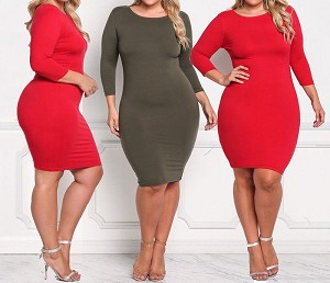 Ladies Womens Regular & PLUS SIZE Casual Evening Cocktail Long Sleeve Bodycon Knee Length Mini Dress