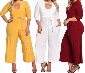 Ladies Womens Regular & PLUS SIZE Casual Sexy Jumpsuit with Hollow Top Cut & Wide Legs