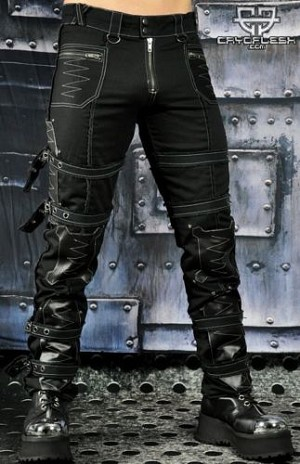Mens Multi-Strap Goth Punk Rock Rave Burning Man Industrial Cargo Style 'Casual Clubwear Urban Hip Hop Jeans Pants