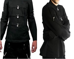 Mens Straight Psycho Insane Gothic Punk Rock Metal Triple Padlock Crazy Straight Jacket Coat