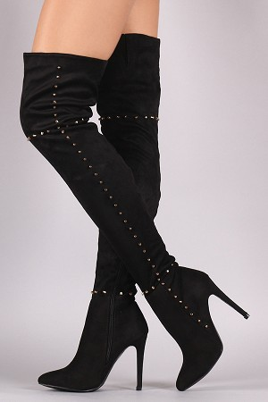 Lady Vegan Suede Studded Thigh Over The Knee Boots