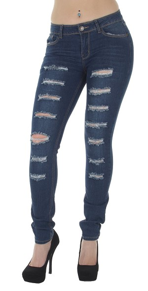 Lady PLUS SIZE Front Ripped Skinny Jeans