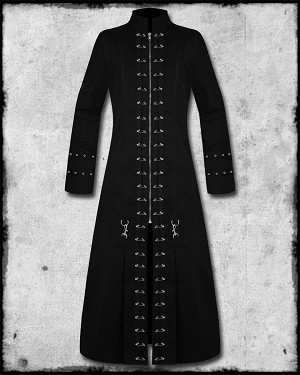 Mens Hell Raiser Goth Punk Rock Rave Front Metal Safety Pin Maxi Matric Style Long Full Length Coat