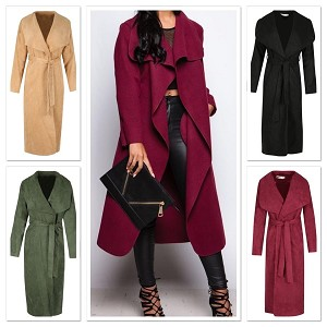Ladies Womens Faux Suede Long Waterfall Belt Casual Cocktail Eveningwear Dressy Warm Winter Coat