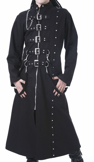 Men Gothic Punk Rock Long Black Buckle Zipper & Chain Strap Coat