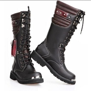 Mens Punk Rock Goth Rave Black with Maroon Leather 13.3 Inch Mid-Calf Steel Toe Military Combat Boots with Side Pocket