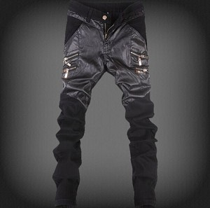 Men Denim PU Pieced Straight Leg Skinny Punk Trouser Jean Pants