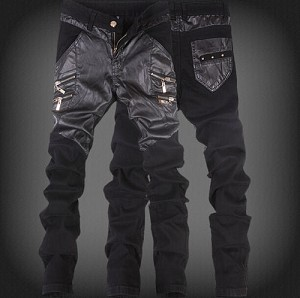 Mens Hip Hop Casual Goth Punk Rock Rave 2 Toned PU Leather and Denim 2 Zipper Pocket Jeans Pants