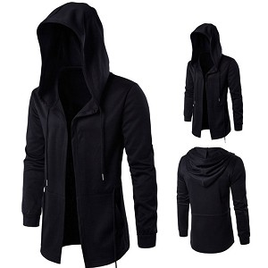 Mens Boys Hip Hop Urban Rock Casual Gothic Warm Winter Pea Coat Jacket with Hoody
