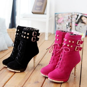 Lace Up Metal Stud Platform Ankle Boots with Ankle Buckles & Sparkle Platform Heels