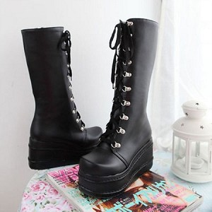 99c5e884431941 Women s Mid Calf Knee High Lace Up Platform Goth Punk Combat Military Boots
