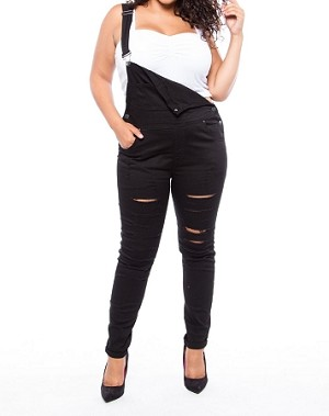 Ladies Womens PLUS SIZE Ripped Torn Denim Over All Jeans One ... e8f78426271